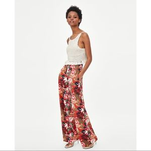 Zara Tropical Printed Wide Leg Pants - Size S